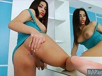 Ladyboy Seang masturbates her shecock