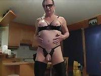 Mature tranny sucks and poses