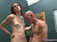 Ginger shemale spunks guy
