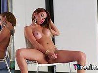 Hot Tgirl Jackeline Abdalla Strokes Her Hard Cock
