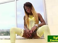 Ebony transsexual Danny Cacau rubs her thick dick