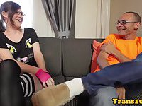 Spex tgirl bumfucked by hard dick