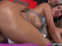 Hot shemale Bianca gets an anal show with male hunks