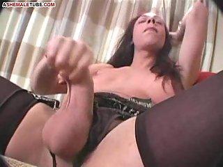 Horny shemale slut masturbates as insane