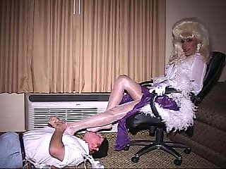 A Guy Pets Blonde Ladyboy
