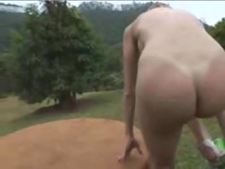 Shemale strip and masturbation outdoor