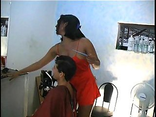 TS hairdresser works with two dicks