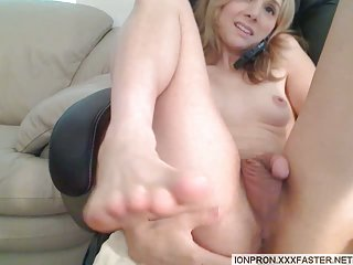 Teen Petite TS Playing With Her Cock
