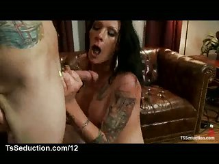 Tattooed ts sucks a cock and gets facial on first date