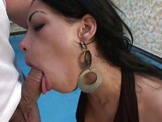 Tgirl Isabele Ricco sucking & fucking poolside