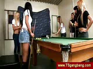 TS gangbang on pool table
