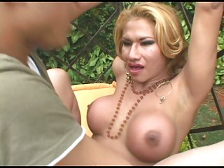 Guy banged by hot tranny outdoors