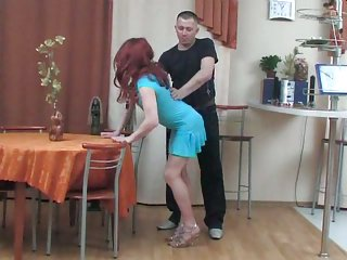 CD in blue dress got cock
