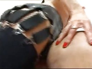 Fetish shemale plays with her slave