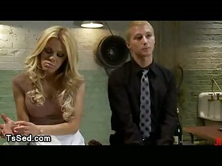 Blonde busty tranny fucks guy onto locking table