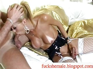 Busty kinky blonde Tgirl gets plugged