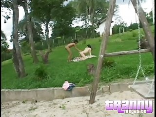 Shemales having fun outdoor