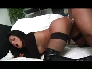 Deep and hard anal ramming for a latina tranny bitch