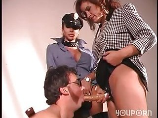 Randy thug fucks with cop & babe with strap-on