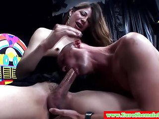 Brunette Shemale In Black Lingerie Gets Dick Sucked