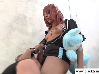 Ebony shemale tranny throatfucks