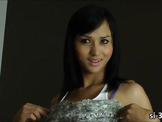 Bangkok tgirl hottie Aor strips off and wanks her beefy cock