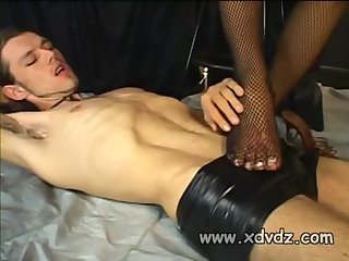 Swarthy brunette tranny and her slave action