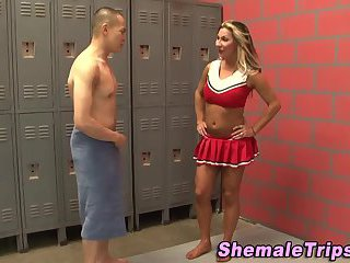 Cheerleader tgirl guzzled