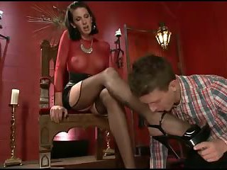 Hot shemale dominatrix commands guy in red room
