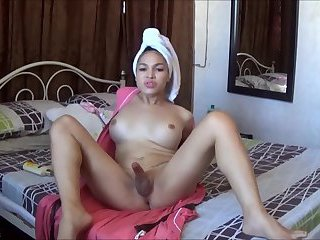 TS FILIPINA Horny Busty Shemale Jerking After Shower