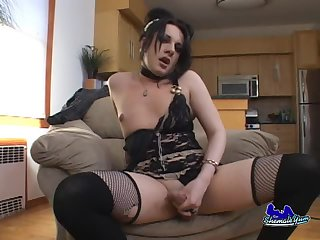 Violet jerks off with pleasure
