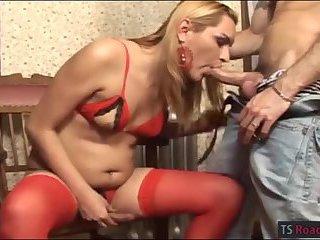 Sexy blonde TS Nahara fucking with dude