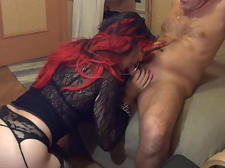Sophie Soft blows as a mature crossdresser